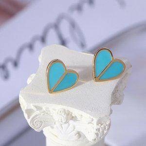 NEW Kate Spade Blue Heritage Spade Heart Earrings
